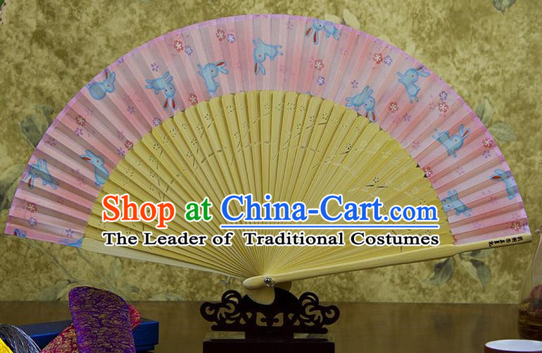 Traditional Chinese Handmade Crafts Pink Folding Fan, China Sensu Printing Rabbits Silk Fan Hanfu Fans for Women