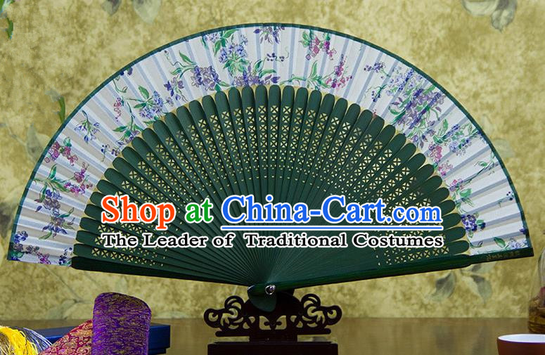 Traditional Chinese Handmade Crafts Green Folding Fan, China Sensu Printing Silk Fan Hanfu Fans for Women