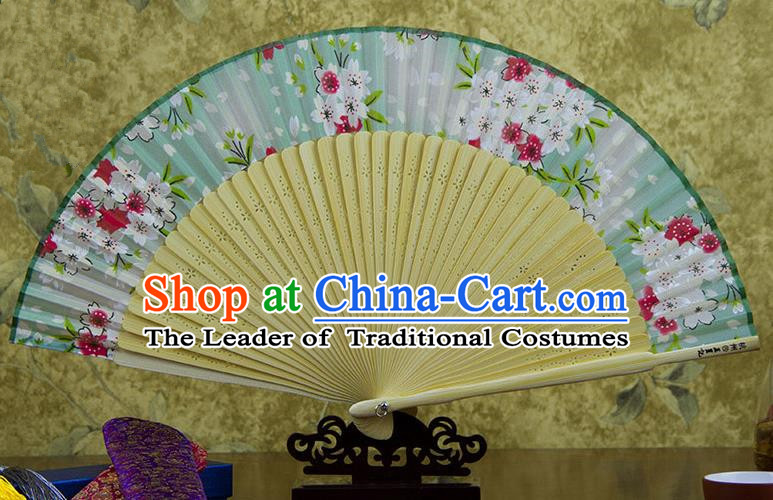 Traditional Chinese Handmade Crafts Green Folding Fan, China Sensu Printing Flowers Silk Fan Hanfu Fans for Women