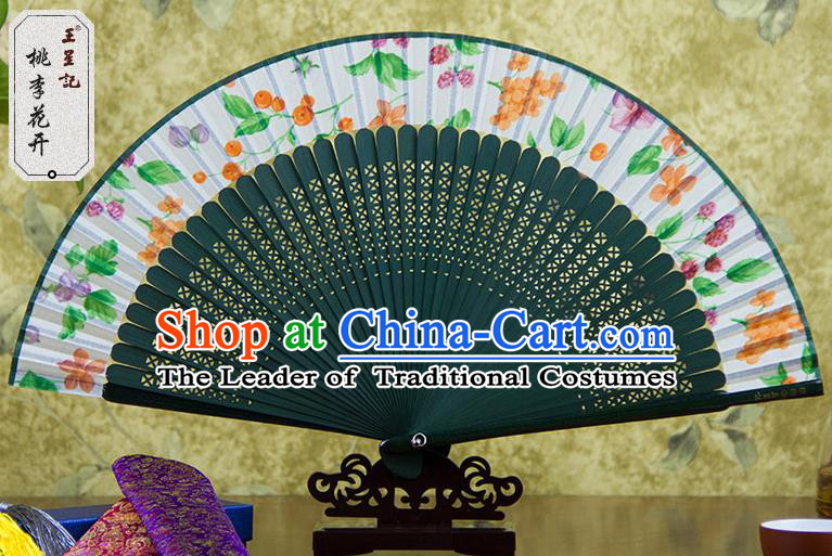 Traditional Chinese Handmade Crafts Green Folding Fan, China Sensu Printing Plum Flowers Silk Fan Hanfu Fans for Women