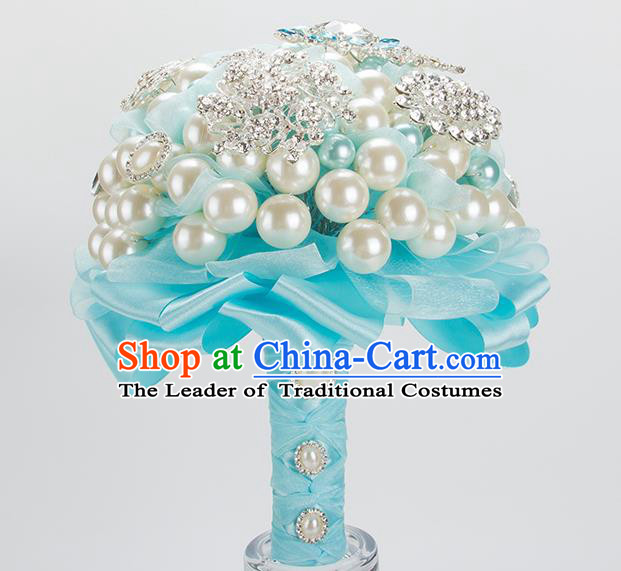 Top Grade Classical Wedding Bride Blue Ribbon Flowers Holding Emulational Flowers Ball, Crystal Hand Tied Bouquet Flowers for Women