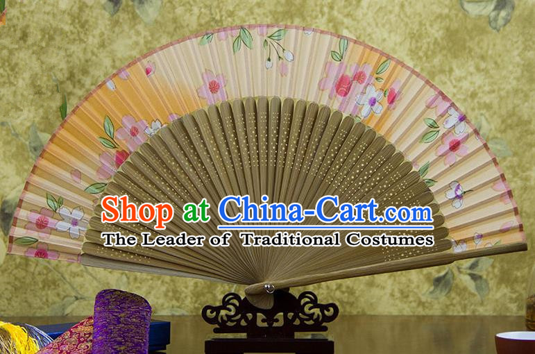 Traditional Chinese Handmade Crafts Orange Folding Fan, China Sensu Printing Flowers Silk Fan Hanfu Fans for Women