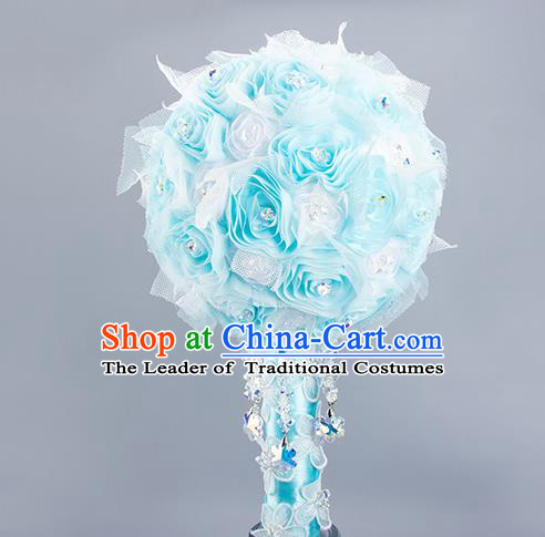Top Grade Classical Wedding Bride Extravagant Blue Crystal Rose Flowers Holding Emulational Flowers Ball, Frozen Hand Tied Bouquet Flowers for Women