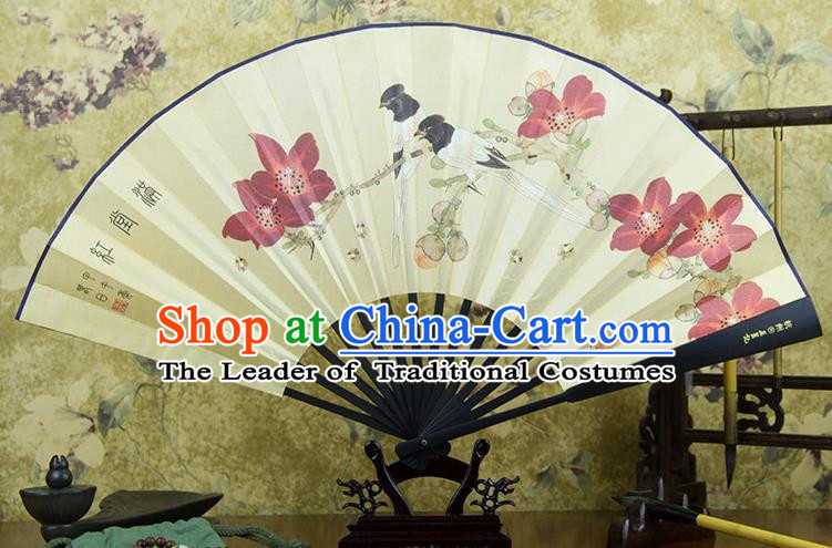 Traditional Chinese Handmade Crafts Ebonize Folding Fan, China Sensu Painting Magpie Wintersweet Silk Fan Hanfu Fans for Men