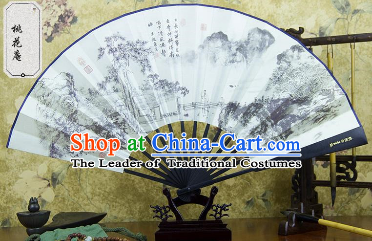 Traditional Chinese Handmade Crafts Ebonize Folding Fan, China Sensu Painting Peach Blossom Silk Fan Hanfu Fans for Men
