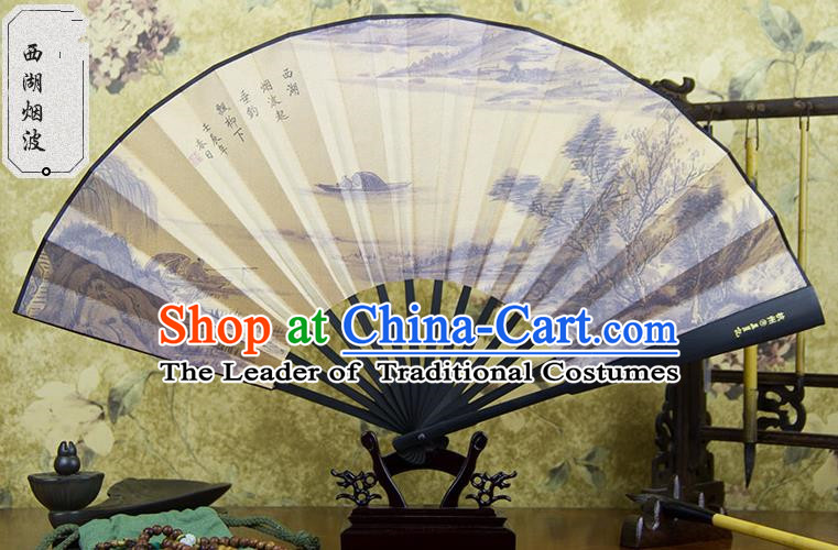 Traditional Chinese Handmade Crafts Ebonize Folding Fan, China Sensu Painting Hangzhou West Lake View Silk Fan Hanfu Fans for Men