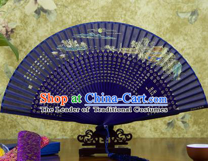 Traditional Chinese Handmade Crafts Folding Fan, China Sensu Painting Autumn Moon on Calm Lake Silk Fan Hanfu Fans for Women