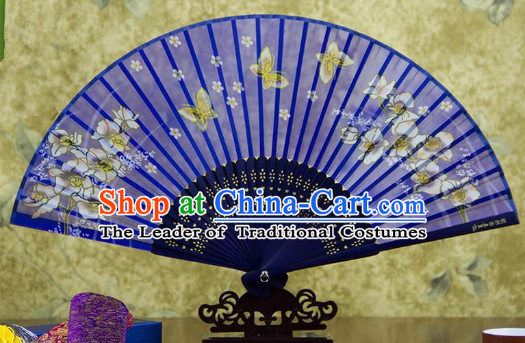 Traditional Chinese Handmade Crafts Folding Fan, China Printing Butterfly Flowers Sensu Blue Silk Fan Hanfu Fans for Women