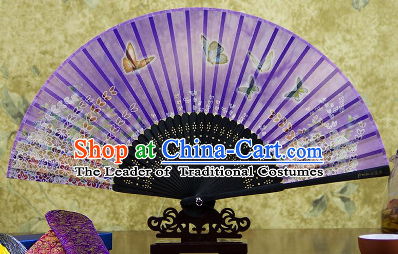 Traditional Chinese Handmade Crafts Folding Fan, China Printing Butterfly Flowers Sensu Purple Silk Fan Hanfu Fans for Women