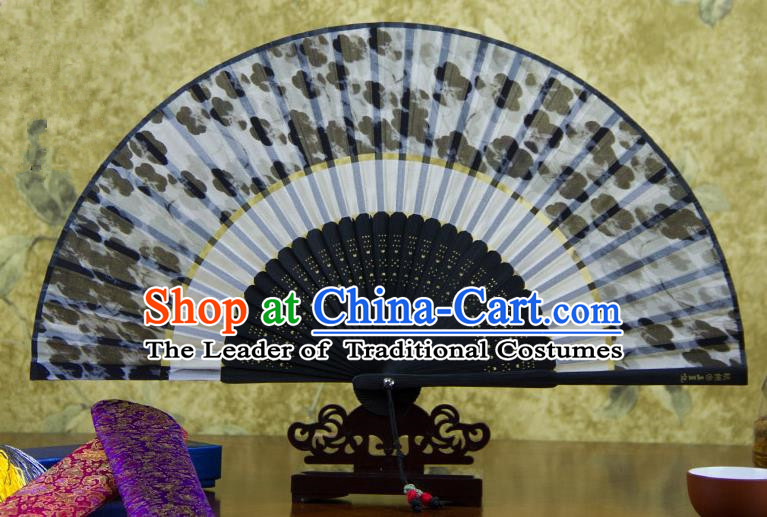 Traditional Chinese Handmade Crafts Two-segment Folding Fan, China Printing Flowers Sensu Black Silk Fan Hanfu Fans for Women
