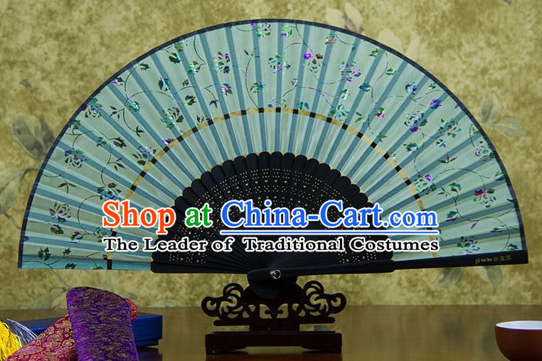 Traditional Chinese Handmade Crafts Two-segment Folding Fan, China Printing Rose Flowers Sensu Light Blue Silk Fan Hanfu Fans for Women