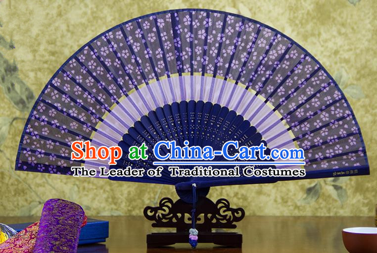 Traditional Chinese Handmade Crafts Two-segment Folding Fan, China Printing Flowers Sensu Purple Silk Fan Hanfu Fans for Women