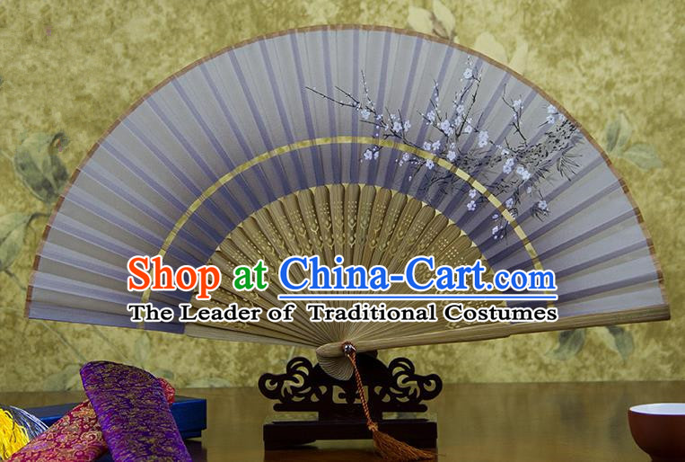 Traditional Chinese Handmade Crafts Two-segment Folding Fan, China Printing Plum Blossom Sensu Light Purple Silk Fan Hanfu Fans for Women