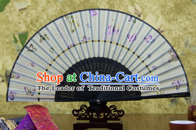 Traditional Chinese Handmade Crafts Two-segment Folding Fan, China Printing Butterfly Sensu Silk Fan Hanfu Fans for Women