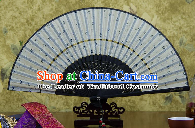 Traditional Chinese Handmade Crafts Two-segment Folding Fan, China Printing Orchid Sensu Silk Fan Hanfu Fans for Women
