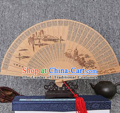 Traditional Chinese Handmade Crafts Sandalwood Folding Fan, China Classical Three Pools Mirroring the Moon Sensu Hollow Out Wood Fan Hanfu Fans for Women