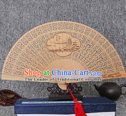 Traditional Chinese Handmade Crafts Sandalwood Folding Fan, China Classical Pagoda of Six Harmonies Sensu Hollow Out Wood Fan Hanfu Fans for Women
