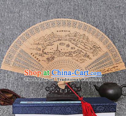 Traditional Chinese Handmade Crafts Sandalwood Folding Fan, China Classical West Lake Scenery Sensu Hollow Out Wood Fan Hanfu Fans for Women