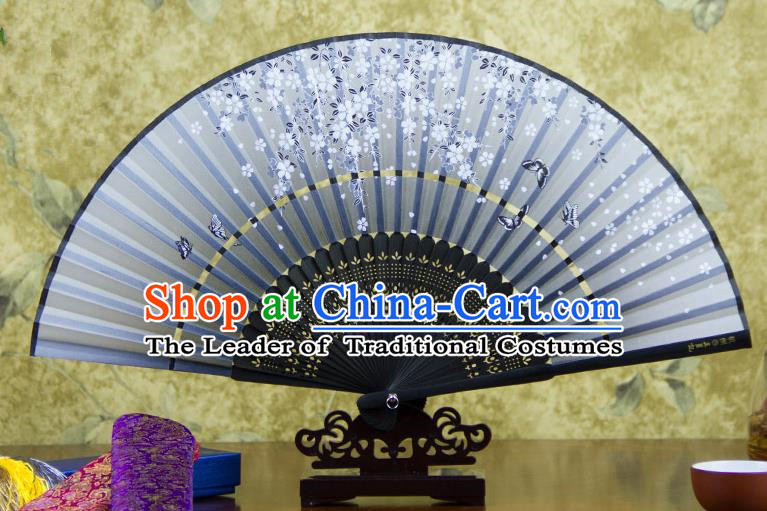 Traditional Chinese Handmade Crafts Two-segment Folding Fan, China Printing Butterfly Sensu Grey Silk Fan Hanfu Fans for Women