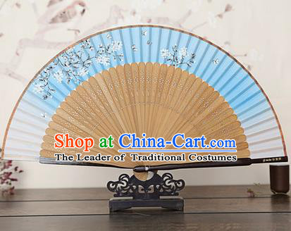 Traditional Chinese Handmade Crafts Bamboo Rib Folding Fan, China Classical Printing Peach Flowers Sensu Gradient Blue Silk Fan Hanfu Fans for Women
