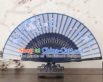 Traditional Chinese Handmade Crafts Bamboo Rib Folding Fan, China Classical Printing Peach Flowers Sensu Blue Silk Fan Hanfu Fans for Women