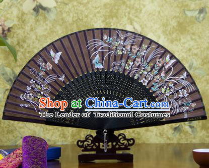Traditional Chinese Handmade Crafts Bamboo Rib Folding Fan, China Classical Printing Butterfly Flowers Sensu Deep Purple Silk Fan Hanfu Fans for Women