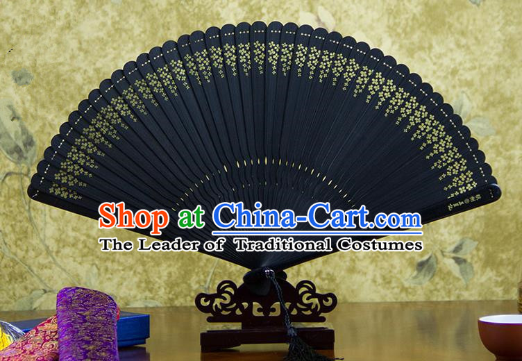 Traditional Chinese Handmade Crafts Bamboo Carving Folding Fan, China Classical Printing Osmanthus Fragrans Sensu Hollow Out Wood Black Fan Hanfu Fans for Women