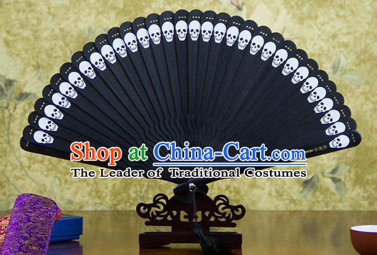 Traditional Chinese Handmade Crafts Bamboo Carving Folding Fan, China Classical Printing Skull Sensu Hollow Out Wood Black Fan Hanfu Fans for Women