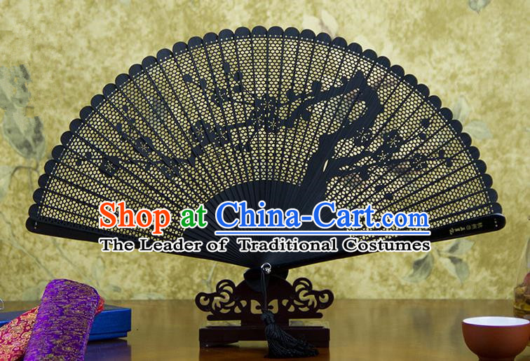 Traditional Chinese Handmade Crafts Bamboo Carving Folding Fan, China Classical Plum Blossom Sensu Hollow Out Wood Black Fan Hanfu Fans for Women