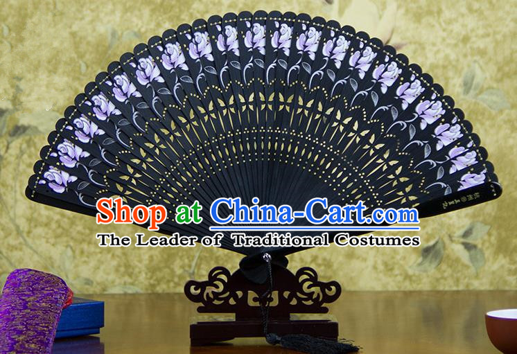 Traditional Chinese Handmade Crafts Bamboo Carving Folding Fan, China Classical Printing Flowers Sensu Hollow Out Wood Black Fan Hanfu Fans for Women