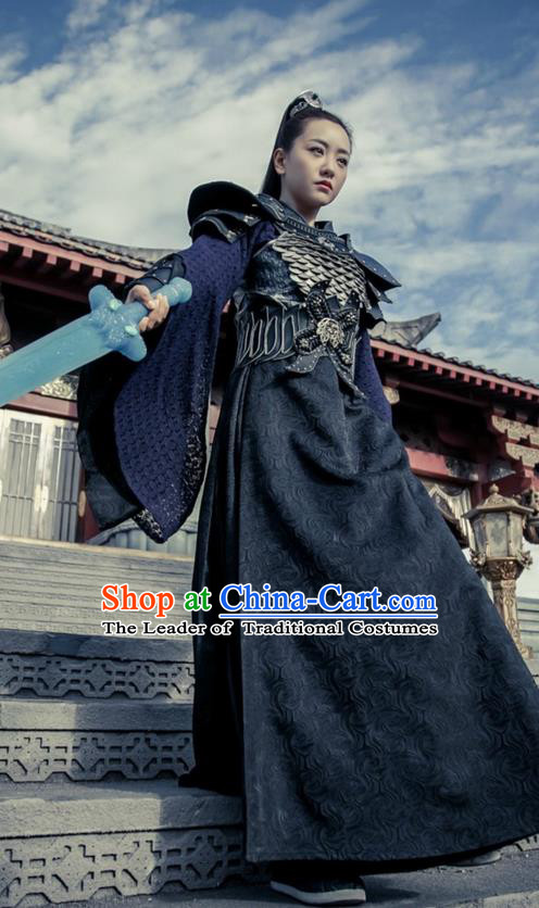 Traditional Ancient Chinese Han Dynasty Female General Clothing, Chinese Ancient Swordswoman Hanfu Costume and Headpiece Complete Set