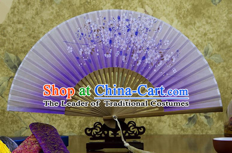 Traditional Chinese Handmade Crafts Hand Painting Flowers Folding Fan, China Classical Oriental Cherry Sensu Purple Silk Fan Hanfu Fans for Women