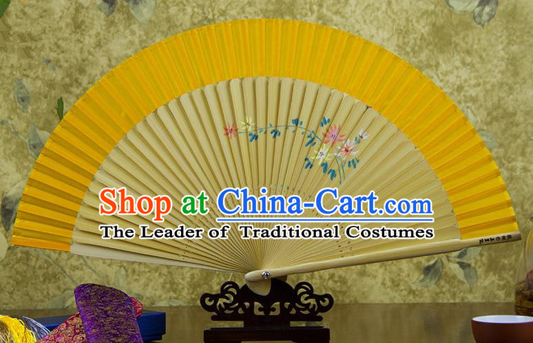 Traditional Chinese Handmade Crafts Hand Painting Flowers Folding Fan, China Classical Yellow Sensu Silk Fan Hanfu Fans for Women