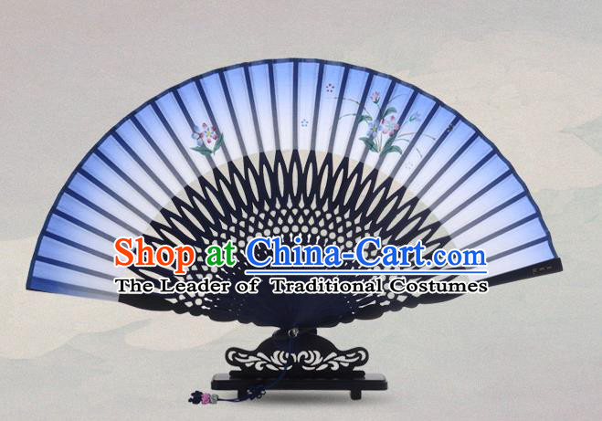 Traditional Chinese Handmade Crafts Painting Flowers Folding Fan, China Classical Sensu Blue Silk Fan Hanfu Fans for Women