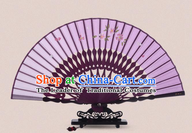 Traditional Chinese Handmade Crafts Painting Flowers Folding Fan, China Classical Sensu Purple Silk Fan Hanfu Fans for Women