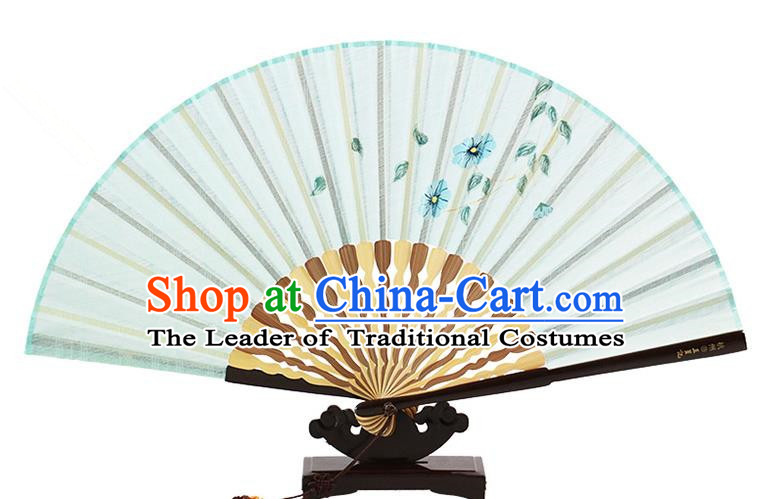 Traditional Chinese Handmade Crafts Printing Flower Folding Fan, China Classical Linen Sensu Light Blue Fan Hanfu Fans for Women