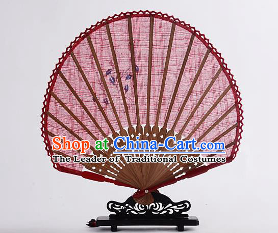 Traditional Chinese Handmade Crafts Hand Painting Flower Folding Fan, China Classical Linen Sensu Sunflower-type Red Fan Hanfu Fans for Women