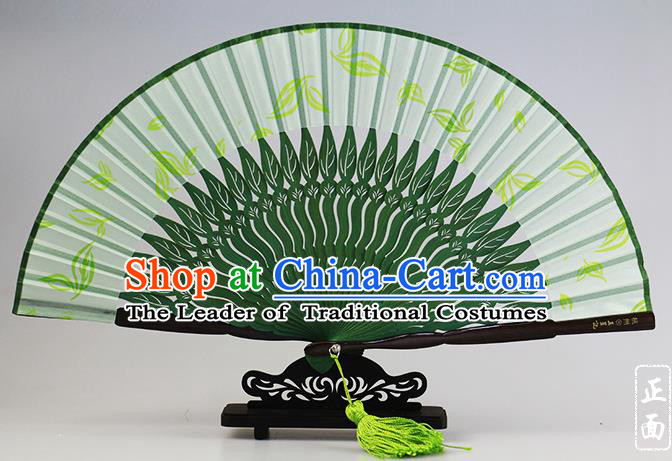Traditional Chinese Handmade Crafts Tea Perfume Folding Fan, China Classical Sensu Green Silk Fan Hanfu Fans for Women