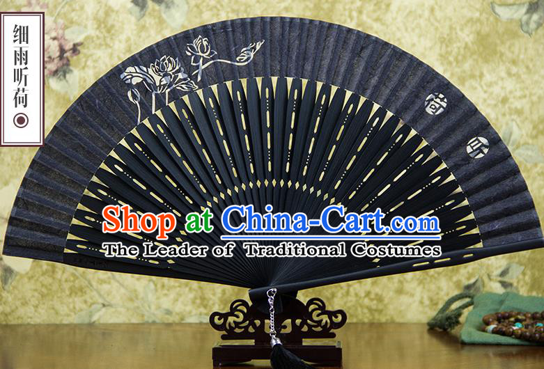 Traditional Chinese Handmade Crafts Silk Folding Fan, China Classical Sensu Printing Lotus Fan Hanfu Fans for Men