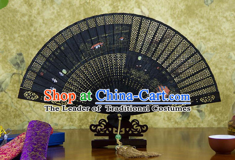 Traditional Chinese Handmade Crafts Ebomy Folding Fan, China Classical Hand Painting Scenery Sensu Hollow Out Fan Hanfu Fans for Women