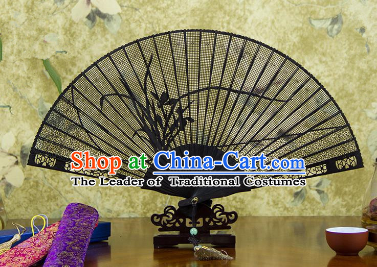 Traditional Chinese Handmade Crafts Ebomy Folding Fan, China Classical Sensu Hollow Out Orchid Fan Hanfu Fans for Women