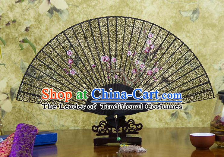 Traditional Chinese Handmade Crafts Ebomy Folding Fan, China Classical Sensu Hollow Out Plum Blossom Fan Hanfu Fans for Women