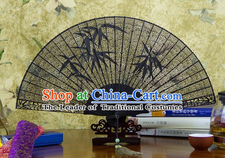 Traditional Chinese Handmade Crafts Ebomy Folding Fan, China Classical Sensu Hollow Out Bamboo Fan Hanfu Fans for Women