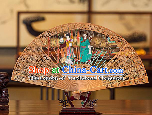Traditional Chinese Handmade Crafts Hand Painting Romance of the Western Chamber Folding Fan, China Classical Sensu Hollow Out Red Sandal Wood Fan Hanfu Fans for Women