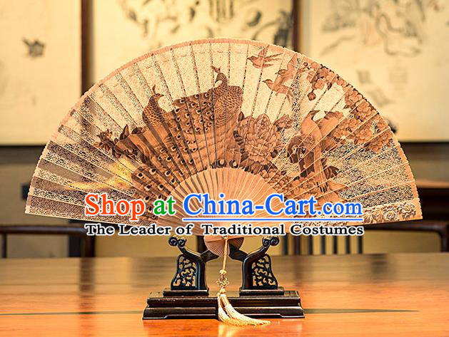 Traditional Chinese Handmade Crafts India Sandalwood Folding Fan Collectibles, China Classical Hollow out Sensu Peacocks Fan Hanfu Fans for Women