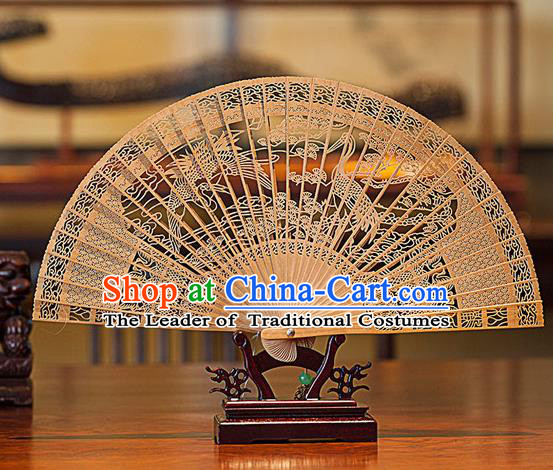 Traditional Chinese Handmade Crafts India Sandalwood Folding Fan Collectibles, China Classical Hollow out Sensu Cranes Fan Hanfu Fans for Women