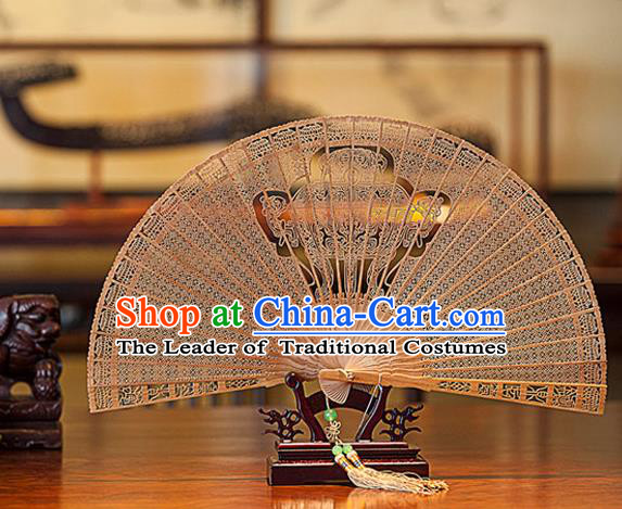 Traditional Chinese Handmade Crafts India Sandalwood Folding Fan Collectibles, China Classical Hollow out Sensu Tripod Stove Fan Hanfu Fans for Women