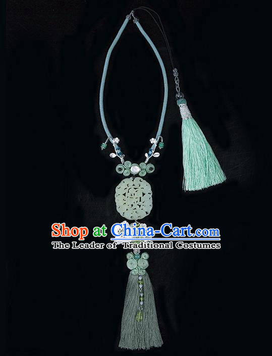 Traditional Chinese Jewelry Accessories Hsiuyen Jade Pendant Silk Tassel Waist Pendant for Women
