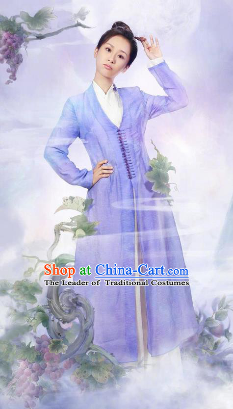 Traditional Ancient Chinese Swordswomen Clothing, Chinese Ancient Scholar Costume and Headpiece Complete Set