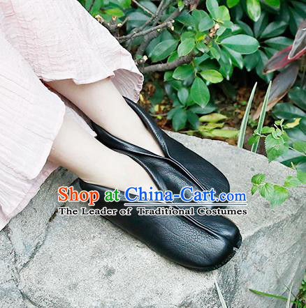 Traditional Chinese Shoes Embroidered Shoes Black Cow Leather Hanfu Shoes Monk Shoes Kung fu Shoes for Women